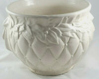 Vintage 1950's Large McCoy Quilted Jardiniere Matte White Finish Pot