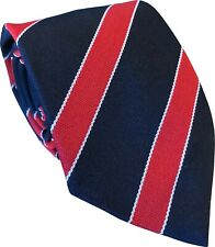 Navy Blue Tie Mens with Red and Narrow White stripes