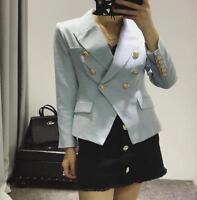 Designer Women's Gold Buttons Blazer Double Breasted Blazer jacket outwear