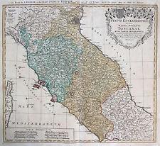 Homann: Orig. altkol. Incisione Cartina geografica Toscana Lazio Italia Italia;