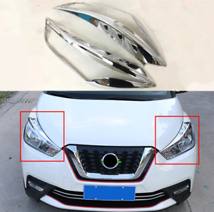 2017-2018 Fit For Nissan Kicks ABS chrome-plated headlight frame cover trim 2pcs