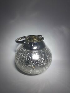 Silvet Crackle Glass Tea Light Candle Lantern with Handle