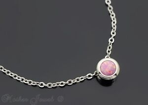 BEAUTIFUL PINK OPAL PENDANT NECKLACE SILVER STAINLESS STEEL ROLO CHAIN