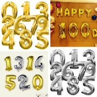 40'' Big Number Foil Balloons Birthday Party Wedding Festival Decor Gold