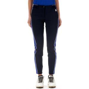 NWT Chervo Ladies Sorbole NAvy side stripe Golf Pants Size US 14 Ital 50 NEW