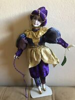 "Vintage Porcelain Musical Wound Up Clown Jester Doll 15"" Purple Velvet"