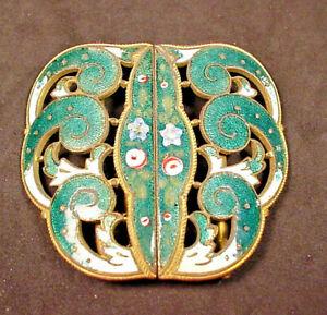 Art Nouveau Enamel Belt Buckle Teal & White Hand Painted 2 Pc Wave Curl Design