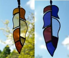Bird Feather Stained Glass Hanging Suncatcher in Brown or Purple