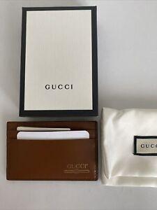 NIB Gucci GG logo Brown Leather Men's Credit Card Case Wallet