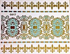 Flash Einmal Temporary Klebe Tattoo Gold Türkis 5teile Armband Hals Kette G17G