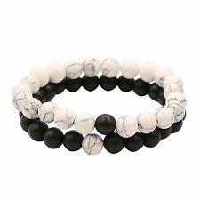 Bracelets Distance Couple Amants-2pcs Agate Matte Noir & Perles Blanches