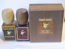 VINTAGE MEMCO ENGLISH LEATHER After Shave- Cologne Set USA Wood Box