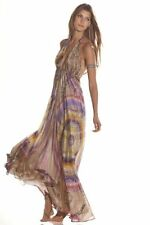 NWT ALEXIS TULA 100% Silk Halter Maxi Dress in BLUE print with train,sz.S