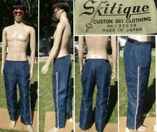 vtg 70's SKITIQUE ski pant waterproof insulated red white blue side zips mens XL