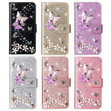 Case For Samsung J3 J4 J5 J6 J7 J8 Note20 Butterfly Leather Wallet Bling Glitter