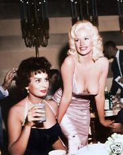 Jayne Mansfield with Sophia Loren holding cocktail candid movie star 8x10 photo