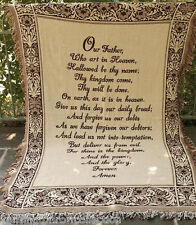 """THROWS - THE LORD'S PRAYER TAPESTRY THROW - 46"""" X 60"""" - FOLIATE SCROLL BORDER"""
