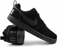 Nike Court Borough Low Triple Black Leather Basketball Shoe 838937-001 Men's NEW