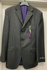 Marks & Spencer Alfred Brown Sartorial Suit Jacket Charcoal Grey Pinstripe 38in