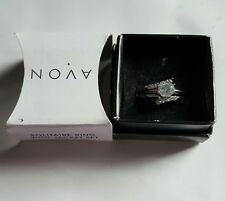 Avon Silvertone Marquise Ring with Jacket Set Size 7 or 8