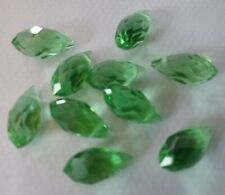 10 beautiful  clear green crystal cut glass teardrop beads 12 x6mm