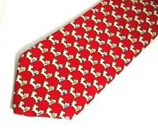 "Salvatore Ferragamo Mens Necktie Tie Red Small Dogs Print Silk 59"""