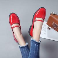 Womens Patent Leather Mary Jane casual Flats Shoes Buckle Strap Round Toe Shoes