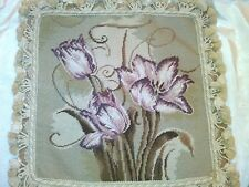 """TULIPS Floral Handmade Aubusson Needlepoint wool cushion Pillow cover 16"""" x 16"""""""