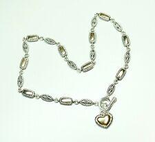 Premier Designs Heart Pendant Toggle Necklace Silver & Gold Tone