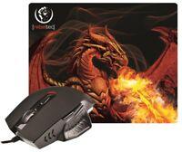 2 in 1: Gaming Mouse + Mousepad PC Gaming Maus RED DRAGON 2400 DPI 6 Tasten