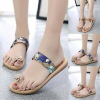 Women's Summer Non-Slip Sandals Flat Beach Slippers Jeweled Sandals Toe Slippers