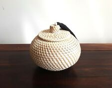 Basket rattan handmade with lid & tassels, white washed, decorative, decor item