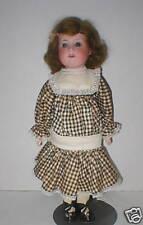 """17"""" Germany A.M. 370 bisque girl, orig brown wig, sleep eyes, nice, dressed"""