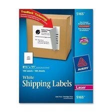 Avery Trueblock 100 White Shipping Labels 85 X 11 Laser 100 Sheets 5165 New
