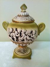 Rare Antique Bisque Lidded Urn Capodimonte Italy, marked Italy Crown N
