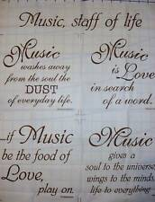 FABRIC PANEL~MUSIC-STAFF OF LIFE~BLOCK PARTY STUDIOS~BROWN INK ON NATURAL