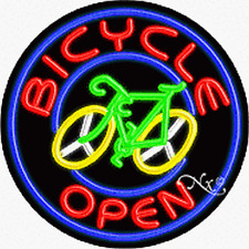 "Brand New ""Bicycle Open"" 26x26x3 Round Real Neon Business Sign 11127"