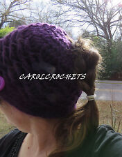 Crochet Messy Bun Hat cloche  Fashion Women purple handcrafted Mom Handmade