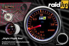 Raid hp Nightflight RED Turbo Ladedruck Anzeige Zusatz Instrument 52mm Schwarz