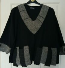 ZELE Tunic Jumper black grey oversized boxy lagenlook L - XL