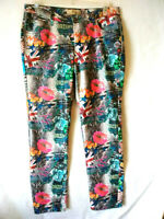 Hybrid & Company Women's Multicolor Stretch SZ 15 Skinny Pants Multi Print Jeans
