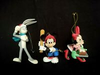 LOT OF 3 PLASTIC CHRISTMAS TREE ORNAMENTS DISNEY MICKEY MINNIE MOUSE BUGS BUNNY