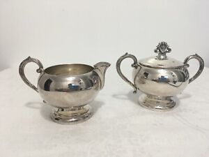 Vintage English Silver Co. Pattern #78 Sugar & Creamer Set Pattern T15