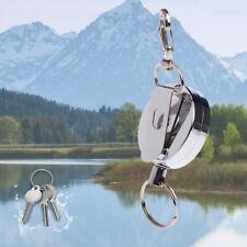 60cm Fishing Zinger Retractor Key Ring Reel Holder Retractable Steel Cable Metal