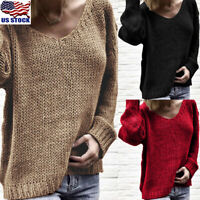 Womens V Neck Knitted Jumper Sweater Tops Ladies Long Sleeve Knitwear Pullover