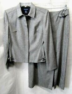 ANN TAYLOR Gray Light Wool Blend 2Pc Lined Sz 4 Jacket / Sz 6 Long Skirt Suit