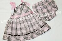 Baby Girl Summer Dress 9 M Month 2PC SET Bloomers Plaid Sundress Pink Brown RARE