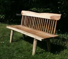 Rustic Spindle Bench Mindi / White Cedar Wood Bench with Back