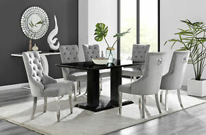 Imperia 6 Black Dining Table and 6 Grey Belgravia Chairs