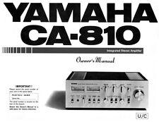 Yamaha CA-810 Amplifier Owners Manual
